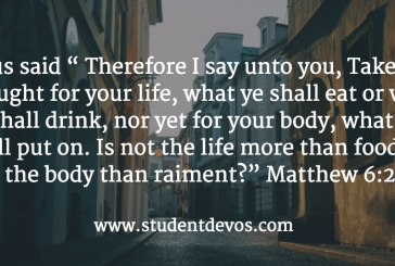 Today's Bible Verse and Devotion – Matthew 6:25