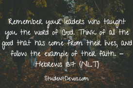 Daily Bible Verse and Devotion – Hebrews 13:7
