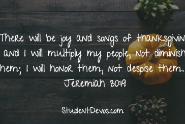 Daily Bible Verse and Devotion – Jeremiah 30:19