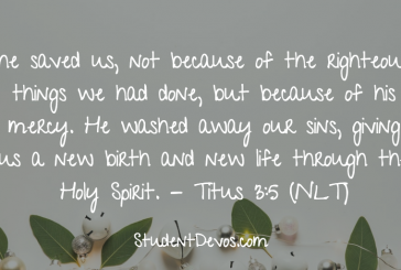 Daily Bible Verse and Devotion – Titus 3:5