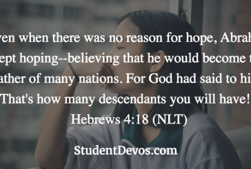 Daily Bible Verse and Devotion – Hebrews 4:18