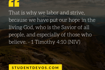 Daily Bible Verse and Devotion – 1 Timothy 4:10