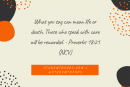 Daily Bible Verse and Devotion – Proverbs 18:21