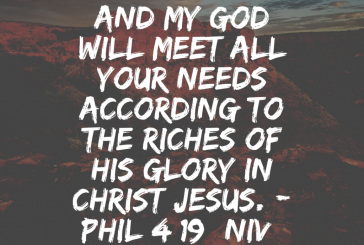 Daily Bible Verse and Devotion – Phil 4:19