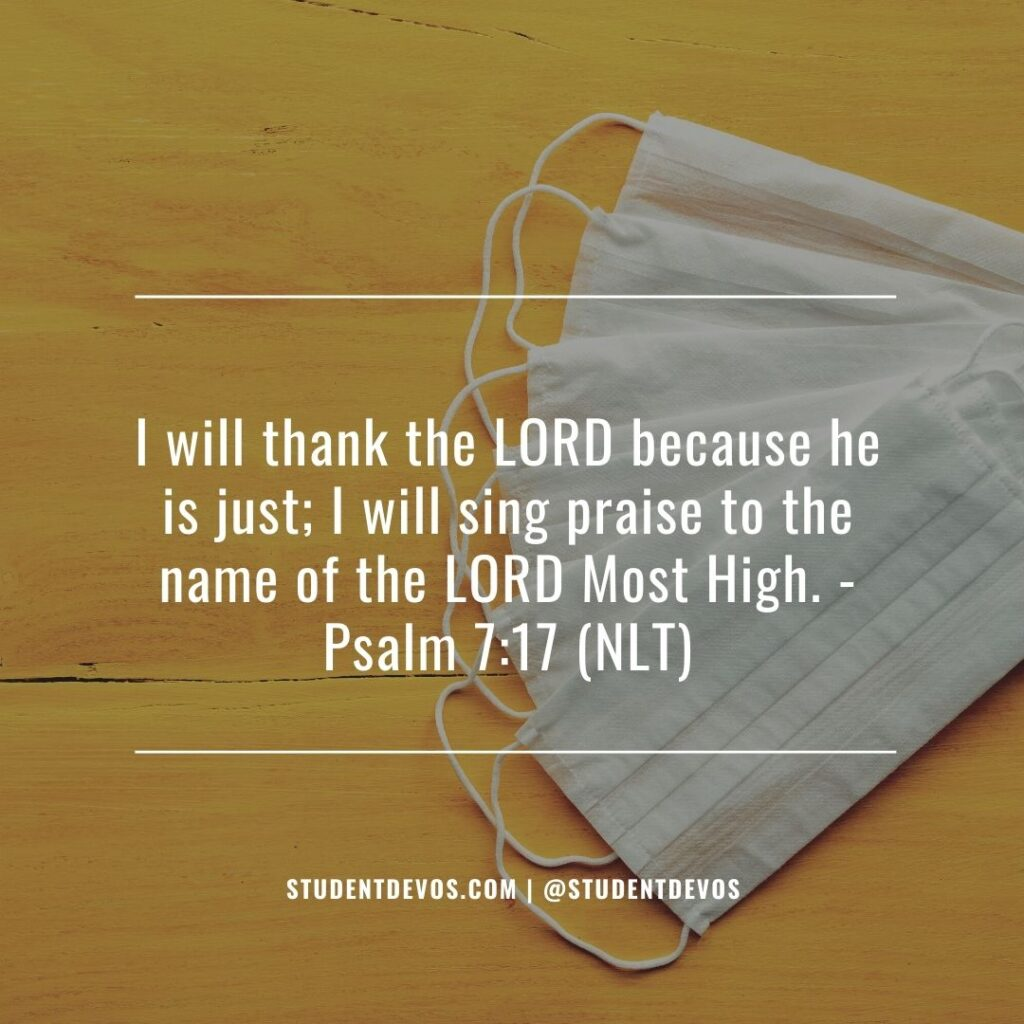 Daily Bible Verse and Devotion – Psalm 7:17